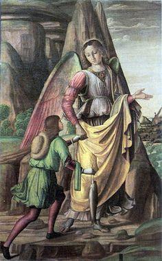 Giovanni Santi (è il padre di Raffaello) (1435-1494), Tobia e l'Arcangelo Raffaele,  Urbino, Galleria Nazionale delle Marche
