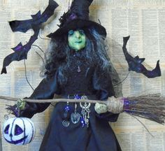 Unique Hand Made Primitive Witch Halloween Doll Loads by Jangojb