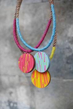 Geometric Necklace / Boho Necklace / Wooden by BlueBirdLab on Etsy