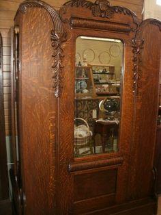 Antique Quarter Sawn Oak Murphy Bed Original Beveled Mirror Exquisite Carvings