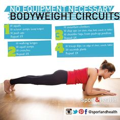 No equipment? No problem! Hit all of your major muscle groups with this bodyweight-only circuit workout! Find more fitness tips at http://www.sportandhealth.com