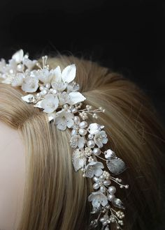 Flores is a floral wedding crown constructed from a dreamy palette of soft ivory, pale gold and silver tones. We love its decadent details and modern style. Floral Headpiece, Headpiece Wedding, Wedding Veils, Bridal Headpieces, Wedding Crowns, Metal Headbands, Wedding Hair Accessories, Bridal Earrings, Floral Wedding