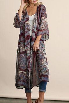 Umgee USA Wine Printed Kimonos