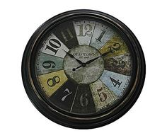 Industrial Mix: Reloj de pared vintage, grande - multicolor