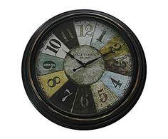 Industrial Mix: Reloj de pared vintage, grande - multicolor
