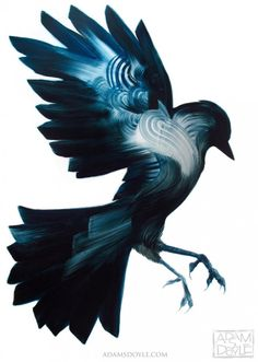 Bird painting by Adam S. Doyle // #art #blue