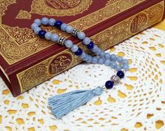 Islamic prayer beads that make great gifts for Ramadan! This 33 bead Angelite and Lapis Lazuli Muslim tasbih solves your gift giving problem! Click to visit my Etsy shop for dozens more styles! Islamic Prayer, Islamic Gifts, Look What I Made, Holy Quran, Prayer Beads, Custom Labels, Memorable Gifts, Organza Bags, How To Make Beads