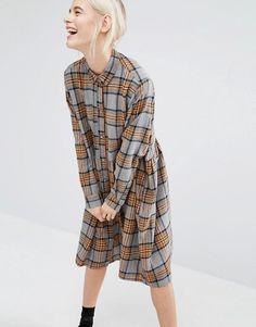 Monki   Monki Tartan Check Shirt Dress