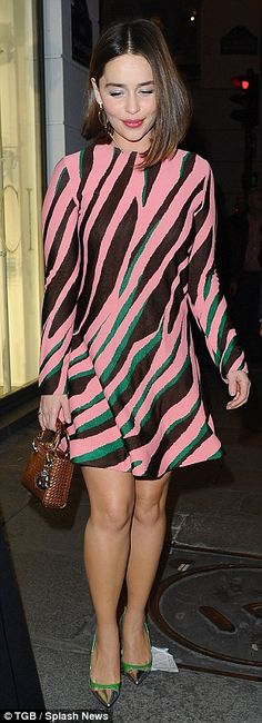 Emilia Clarke shows off her fantastic legs in vibrant pink and green zebra-print mini dress for night out in Paris | Daily Mail Online