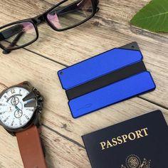 Blue Carved Aluminum Metal Wallet - Slim Wallet Company