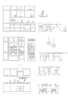 Modern Kitchen Furnitures Cad Dwg for Architecture & Interior Design | Dwg Ai Pdf Kitchen Furnitures | toffu.co