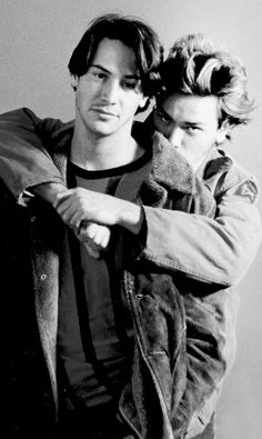 "Photo of Keanu Reeves & his friend actor  River Phoenix - Movie ""My Own Private Idaho"""