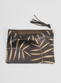 Leather Clutch Golden Palm / Jessica Kertis.