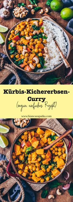 - Kürbis-Kichererbsen-Curry (vegan, einfaches Rezept This creamy vegan pumpkin chickpea curry with spinach is the perfect feel-good meal. It tastes so delicious, is healthy, easy to prepare, and finished in less than 25 minutes! Easy Healthy Recipes, Lunch Recipes, Indian Food Recipes, Asian Recipes, Crockpot Recipes, Vegetarian Recipes, Easy Meals, Ethnic Recipes, Drink Recipes