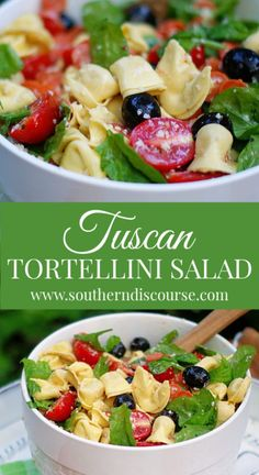 This easy Tuscan Tortellini Salad recipes is one of the best pasta salad recipes! A cold pasta salad full of tomatoes, spinach, Parmesan cheese, pepperoni and black olives in a zesty Italian dressing! Pasta Salad With Tortellini, Tortellini Recipes, Cheese Tortellini, Pasta Recipes, Cooking Recipes, Italian Salad, Italian Dressing, Italian Pasta, Best Ever Pasta Salad