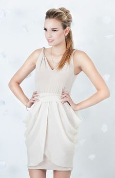 Nude Taupe Bridesmaid Dress with Chiffon Hip Drape by LHCcouture, $180.00