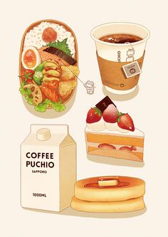 "Image tagged ""food, art, and bento"" - Anime food - Bento Ideas Cute Food Drawings, Kawaii Drawings, Japan Design, Arte 8 Bits, Food Sketch, Watercolor Food, Food Painting, Vintage Diy, Aesthetic Food"