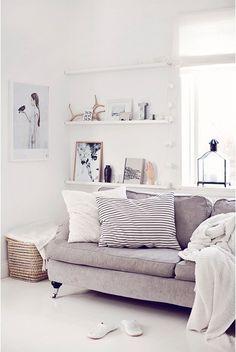 Natuurtinten in huis #grijs #hout #wit