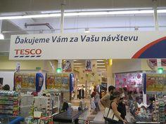 Shopping at Tesco in Trnava, Slovakia.  A very pregnant Brynne.