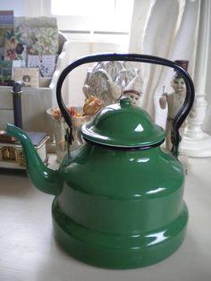 Vintage french enamelled green kettle.