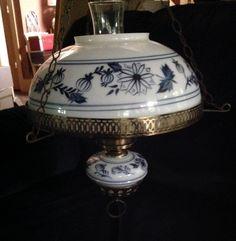 VINTAGE BLUE ONION HANGING CEILING LAMP LIGHT MILK GLASS