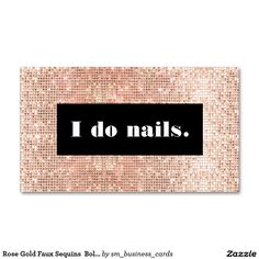 Rose Gold Faux Sequins  Bold Nail Salon Double-Sided Standard Business Cards (Pack Of 100)