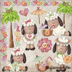 Hawaiian Sheep 1 Clip Art Set - Click Image to Close