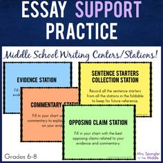 If your middle school students need more practice with elaboration, try these centers/stations! The students will love the movement and the activity while you'll love the learning! Writing Lesson Plans, Writing Lessons, Teaching Writing, Writing Skills, Essay Writing, Middle School Writing, Middle School Classroom, Middle School English, Writing Strategies