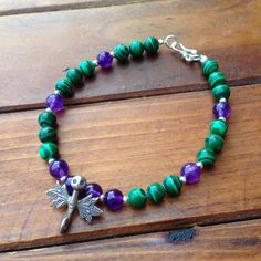 Hand Made Tibetan Dragonfly Mala Bracelet With Malachite and Amethyst Beads
