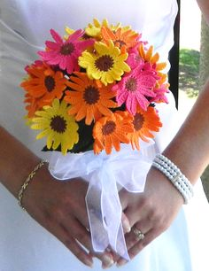 My Crocheted Wedding Bouquet. *This crocheted wedding bouquet is actually pretty! It doesn't look fuzzy and wadded. I LOVE this!
