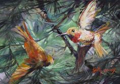 Hummingbirds begin arriving in the Davis Mountains of Far West Texas in early spring, after their annual winterfest down south. pastel painting by Fort Davis artist Lindy Cook Severns Available as a small hand-repainted print Wildlife Paintings, Wildlife Art, Fort Davis, Desert Animals, Joy Art, African Grey Parrot, Le Far West, Down South, Wild Birds