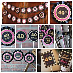Ladies 40th birthday party decorations.   Black, hot pink and gold glitter.  Boutique 6 piece party box.  Fully assembled and customizable. by CharmingTouchParties on Etsy