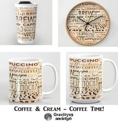 Coffee and Cream - So many name, does this delicious drink have....many blends & flavors, as well! Coffee Text on Creamy Background available on  #Fashion, #homeDecor, prints and more at #Society6 #Gravityx9 -