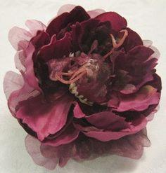 Burgandy Fancy Peonie Fun Flower for Headband Hat by BabyQsMom, $4.99