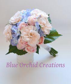Hydrangea Bouquet - Blue Hydrangeas, Country Wedding Bouquet, Blue and Peach, Blush Bouquet, Peony Bouquet, Garden Bouquet, Vintage by blueorchidcreations on Etsy