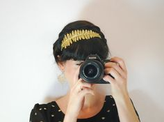 Gold sparkly headband for women  womens hair by Fitzberries, $17.00