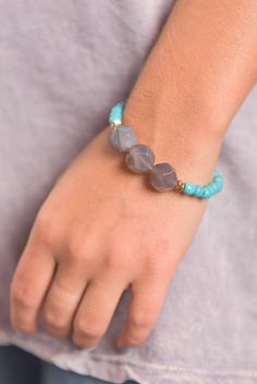 """Naturally Yours Bracelet, Turquoise"" This bracelet is perfect for fall! The turquoise beads are beautifully vibrant! We love all the different details that make up this bracelet too! #newarrivals #shopthemint"