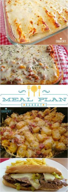 Meal Plan Sunday at The Country Cook. Featured recipes include Creamy Chicken Enchiladas, Baked Ziti, Crock Pot Tater Tot Casserole, Crock Pot Meatball and Tortellini Soup and Pina Colada Poke Cake