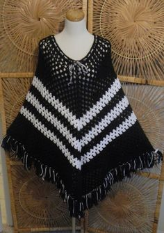 Mine was brown and orange. Vintage 1970s Poncho Cape-Hand  Crocheted-Black And White-Boho Hippie Chic..