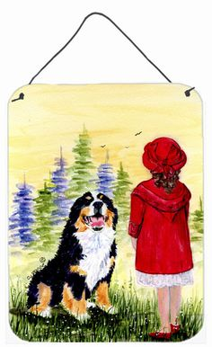 Little Girl with her Bernese Mountain Dog Wall or Door Hanging Prints