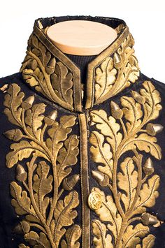 Diplomatic uniform coat detail, 1858-60~ detail gold thread embroidery of oak leaves and acorns.