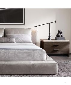 RH Modern& Cloud Platform Leather Bed:A nod to the relaxed modernism of American design, our Cloud Platform Bed features a low, footless frame with a leather headboard, goose feather back cushions and all-around wide rail. Contemporary Bedroom, Modern Bedroom, Contemporary Cottage, Contemporary Kitchens, Eclectic Bedrooms, Modern Beds, Contemporary Building, Contemporary Wallpaper, Contemporary Office
