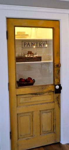 I could cut my doors to look like this and distress paint them. Laundry door for cottage