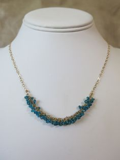 Blue Apaitie cluster necklace.  Apatite and gold www.sarahwalkerjewelry.com