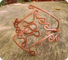 Tribal Copper Cuff Wire Wrapped Armlet Bohemian Ethnic by CuraWay