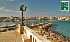 Italian Velo Tours, Trulliland and Salento. End of October cycling Apulia. Otranto seafront.