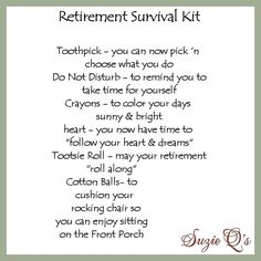 🔥 [OFFER ENDS SOON]=> This kind of thing For basic survival guide looks completely superb, have to remember this next time I've got a bit of cash saved .BTW talking about money. Is there more to life than shopping? Retirement Survival Kit, Teacher Retirement, Retirement Cards, Retirement Parties, Retirement Ideas, Retirement Greetings, Army Retirement, Retirement Celebration, Retirement Quotes