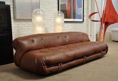"Afra and Tobia Scarpa (Italy) - ""Soriana"" Leather Sofa for Casina"