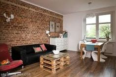 Znalezione obrazy dla zapytania cegła w mieszkaniu Exposed Brick, Pallet Furniture, Dining Bench, Corner Desk, Ikea, Living Room, Home Decor, Pallet Ideas, Industrial