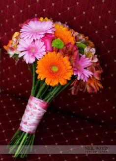 Orange & pink wedding flower bouquet.